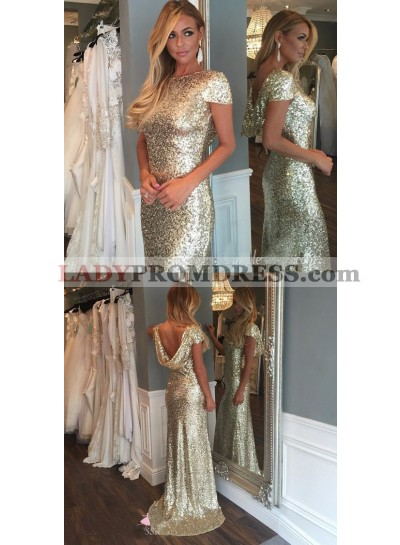 2021 New Arrival Gold Sequins With Capped Sleeves Long Bridesmaid Dresses / Gowns