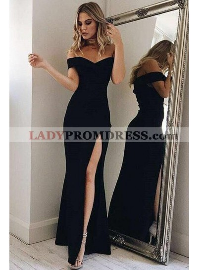 2020 Sexy Black Off The Shoulder Satin Prom Dresses