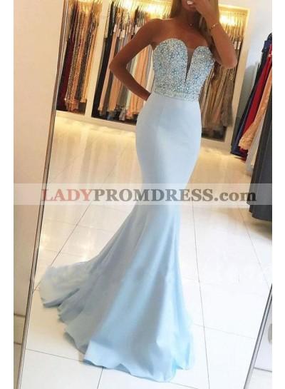 2020 Sexy Light Sky Blue Mermaid/Trumpet Sweetheart Beaded Satin Prom Dresses