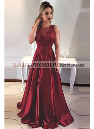 Princess/A-Line Burgundy Satin Prom Dresses With Appliques