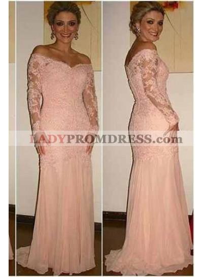 Off-the-Shoulder Sheer Sleeves Mermaid/Trumpet Lace 2019 Glamorous Pink Prom Dresses