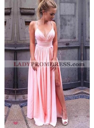 2020 Siren Princess/A-Line Satin Sweetheart Side Slit Pink Prom Dresses
