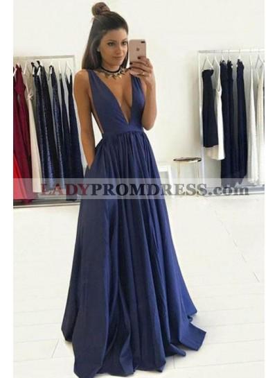 2020 Siren Deep V-neck Satin Backless Prom Dresses