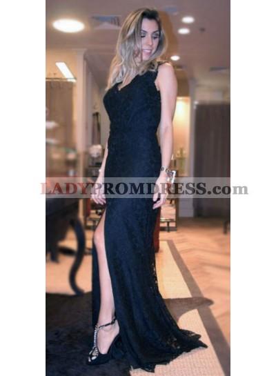 2019 Siren Black Side Slit Lace Prom Dresses