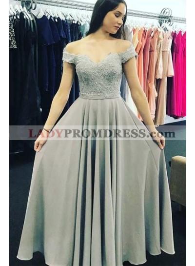 2019 Cheap Princess/A-Line Chiffon Sweetheart Silver Prom Dresses