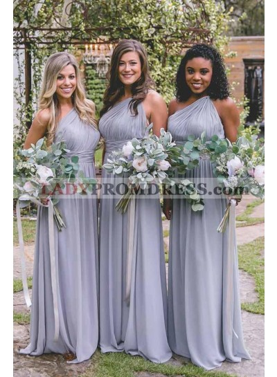 2021 A Line One Shoulder Ruffles Bridesmaid Dresses