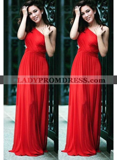2019 Gorgeous Red One Shoulder Pleats A-Line/Princess Stretch Satin Prom Dresses
