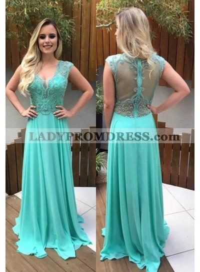 Beading V-Neck A-Line/Princess Chiffon Prom Dresses LadyPromDress 2019 Blue