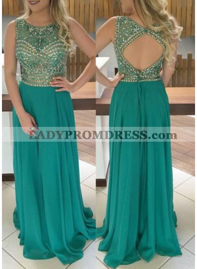 Jewel Natural Sleeveless Beading A-Line/Princess Chiffon Hunter Prom Dresses