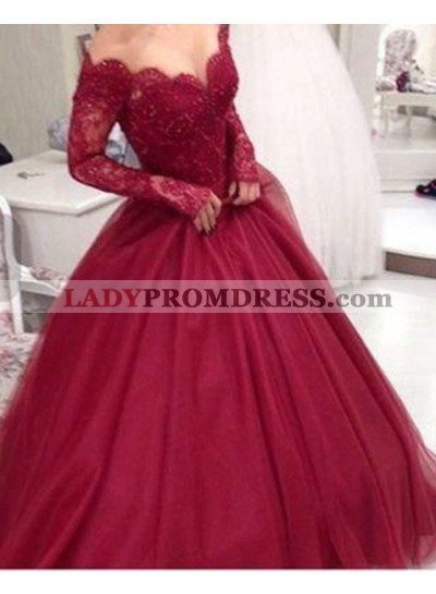 2020 Gorgeous Red A-Line/Princess Long Sleeve Natural Lace Floor-Length/Long Tulle Prom Dresses
