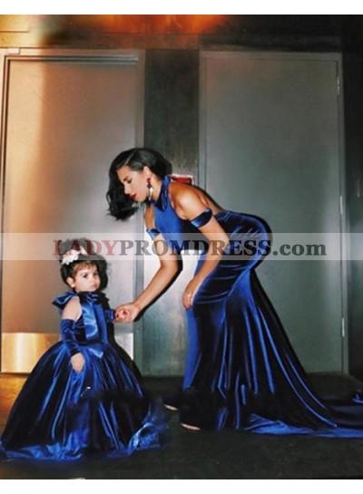 LadyPromDress 2019 Blue Halter Court-Train Open-Back Mermaid/Trumpet Velvet Prom Dresses