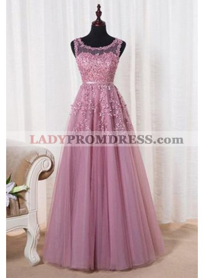 A-Line/Princess Sleeveless Natural Prom Floor-Length/Long Tulle 2019 Glamorous Pink Prom Dresses