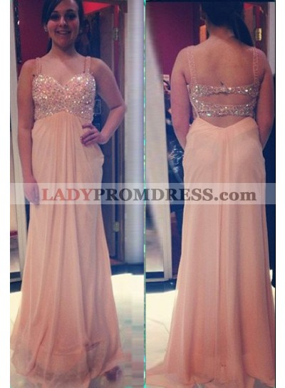 Crystal Straps Backless A-Line/Princess Chiffon Prom Dresses
