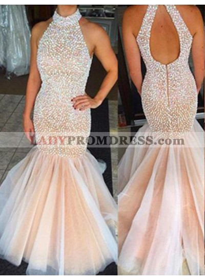 Floor-Length/Long High Neck Mermaid/Trumpet Organza Champagne Prom Dresses