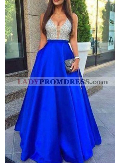 Royal Blue A-Line/Princess V-Neck Sleeveless Natural Zipper Floor-Length/Long Satin Prom Dresses