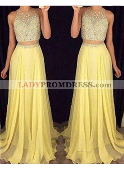 Floor-Length/Long Beading A-Line/Princess Two Pieces Chiffon Yellow  Prom Dresses