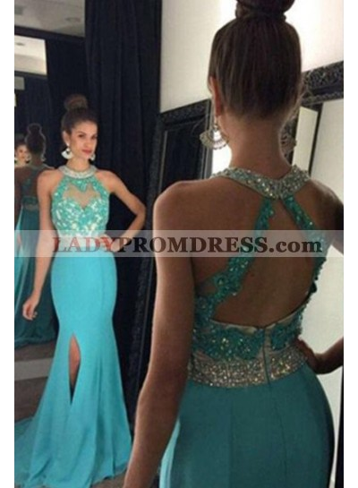 LadyPromDress 2021 Blue Floor-Length/Long Mermaid/Trumpet Lace Split Front Chiffon Prom Dresses