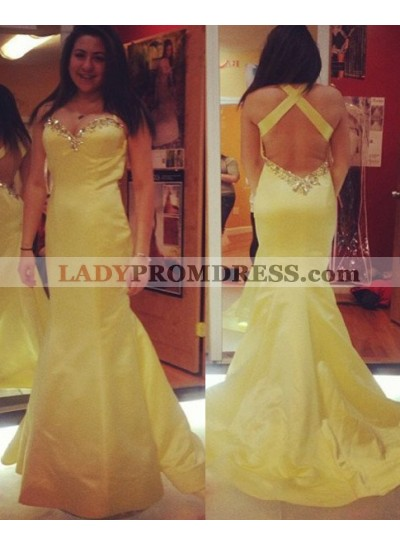 Halter Beading Criss Cross Mermaid/Trumpet Satin Prom Dresses