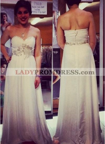 2018 Unique White Sweetheart Zipper Beading A-Line/Princess Chiffon Prom Dresses