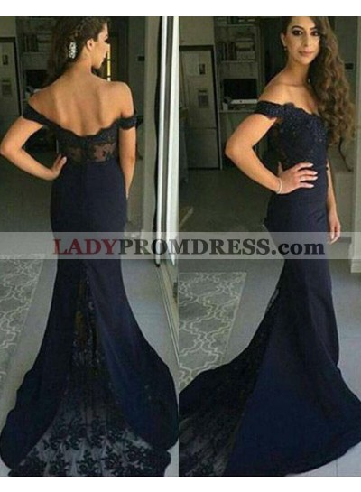 LadyPromDress 2020 Blue Mermaid/Trumpet Off-the-Shoulder Sleeveless Natural Zipper Lace Prom Dresses