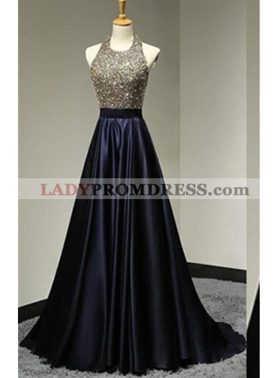 Halter Beading Backless Sweep Train A-Line/Princess Satin Prom Dresses