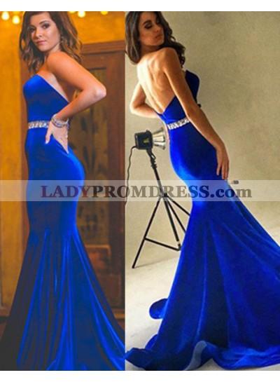 Royal Blue Beading Strapless Mermaid/Trumpet Velevt Prom Dresses