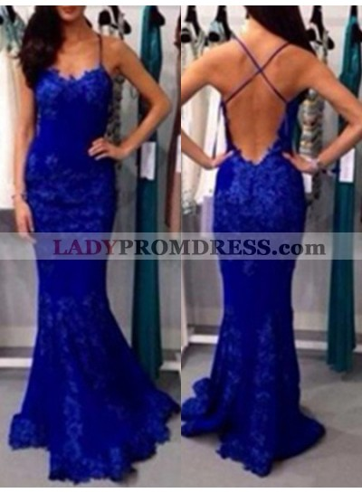 Royal Blue Spaghetti Straps Backless Mermaid/Trumpet Lace Prom Dresses