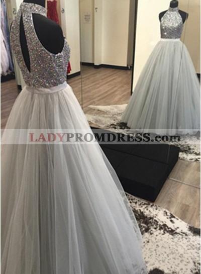 2018 Unique White Beading Halter Tulle Prom Dresses