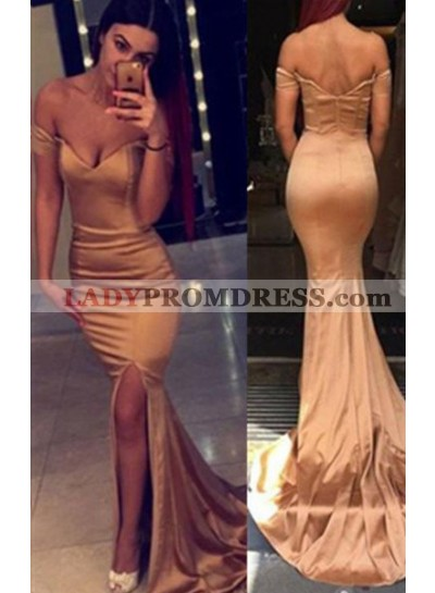 Mermaid/Trumpet Off-the-Shoulder Natural Zipper Sweep Train Champagne Prom Dresses