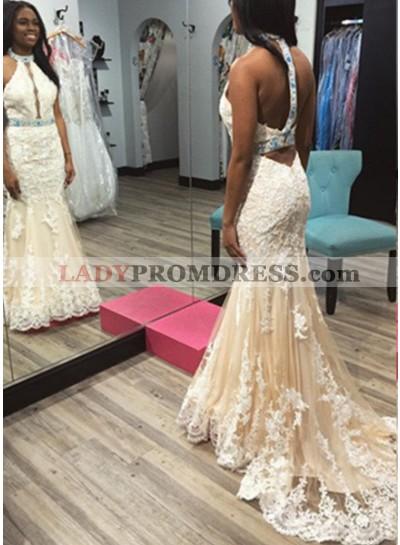 2019 Unique White Appliques Halter Tulle Prom Dresses
