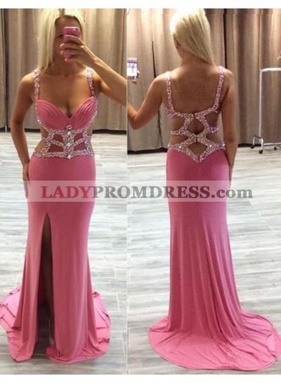 Side Slit Crystal Straps Column/Sheath 2019 Glamorous Pink Prom Dress Prom Dresses