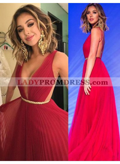 2019 Gorgeous Red Floor-Length/Long Column/Sheath V-Neck Pleats Chiffon Prom Dresses