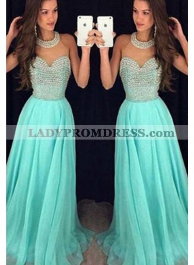 Floor-Length/Long High Neck Beading A-Line/Princess Chiffon Prom Dresses