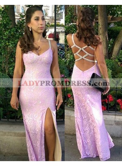 Front-Slit Column/Sheath Lace Prom Dresses