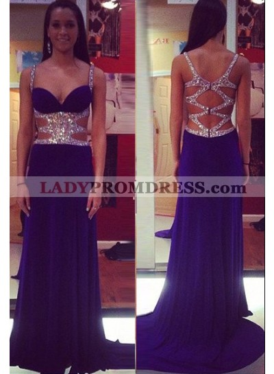 Beading Purple Straps Sweep Train A-Line/Princess Chiffon Prom Dresses