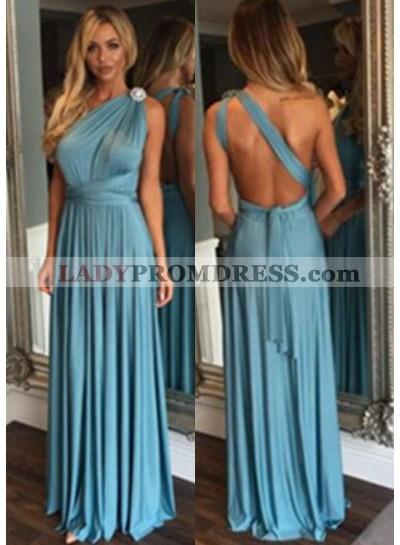 LadyPromDress 2019 Blue One Shoulder Natural Backless Floor-Length/Long A-Line/Princess Prom Dresses