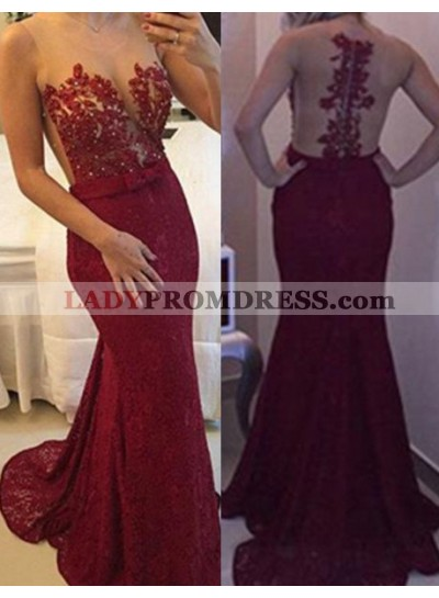 Burgundy Floor-Length/Long Mermaid/Trumpet Lace Prom Dresses