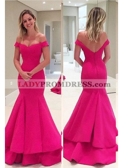 Off-the-Shoulder Mermaid/Trumpet Satin Fuchsia Prom Dresses