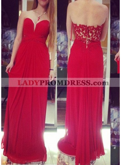 2019 Gorgeous Red Appliques Sweetheart Floor-Length/Long A-Line/Princess Chiffon Prom Dresses