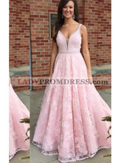 V-Neck Floor-Length/Long Lace Natural Waist Sleeveless A-Line/Princess 2021 Glamorous Pink Prom Dresses