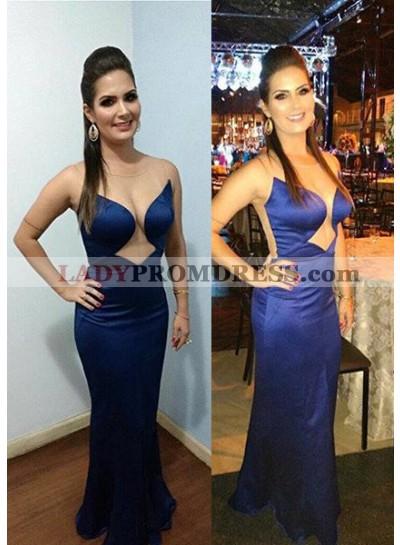 LadyPromDress 2019 Blue Sexy Sheer Back Sleeveless Column/Sheath Satin Prom Dresses