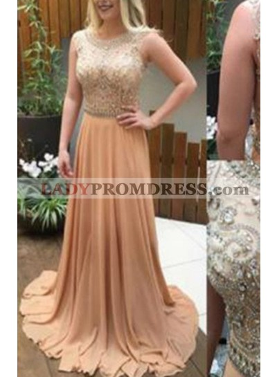 A-Line/Princess Sleeveless Natural Zipper Sweep/Brush Train Chiffon Prom Dresses