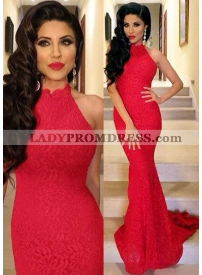 2019 Gorgeous Red Sleeveless Natural Sweep Train Mermaid/Trumpet Lace Prom Dresses