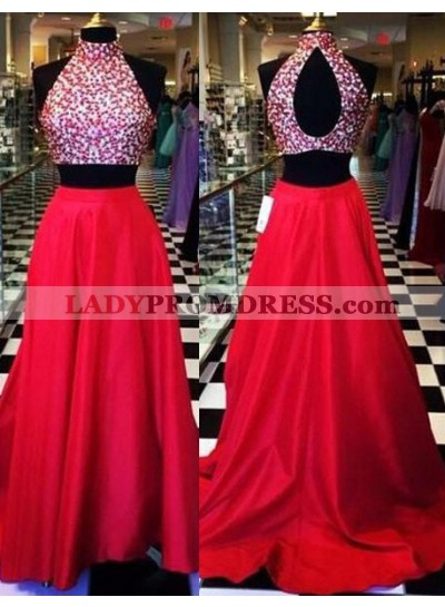 2019 Gorgeous Red Floor-Length/Long A-Line/Princess High Neck Two Pieces Satin Prom Dresses