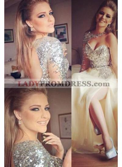 Floor-Length/Long A-Line/Princess One Shoulder Sequins Chiffon Champagne Prom Dresses