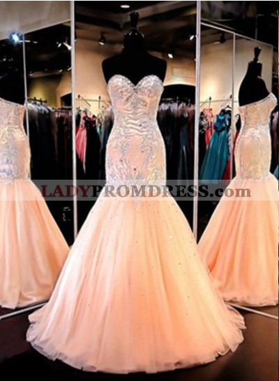 Floor-Length/Long Mermaid/Trumpet Sweetheart Tulle Prom Dresses