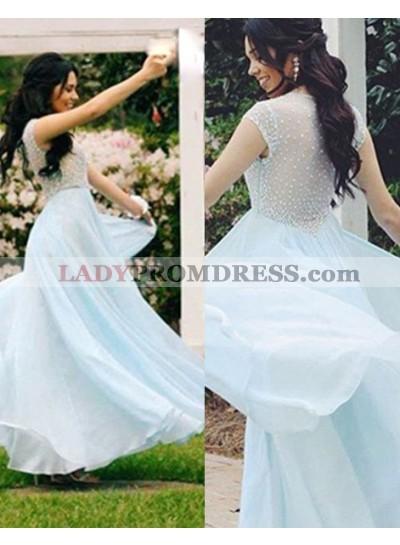 Beading Floor-Length/Long A-Line/Princess Chiffon 2018 Unique White Prom Dresses
