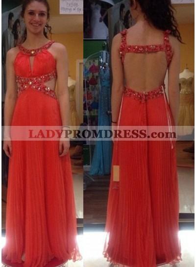 Prom Dresses Round Neck Beading Pleats A-Line/Princess Chiffon