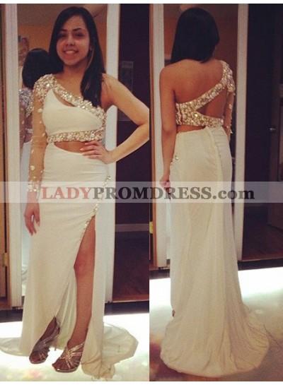 2019 Unique White One Shoulder Beading Split Front Chiffon Prom Dresses