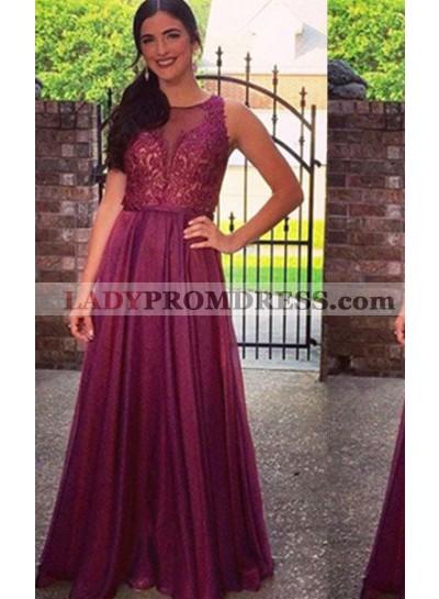 Prom Dresses Round Neck Lace Embellishment A-Line/Princess Chiffon Prom Dress